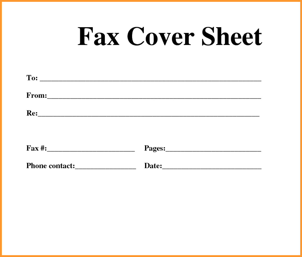 Blank Printable Fax Cover Sheet