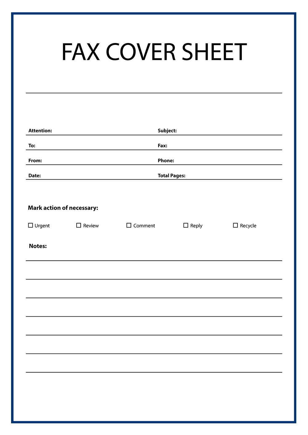 Free Printable Basic Fax Cover Sheet Template