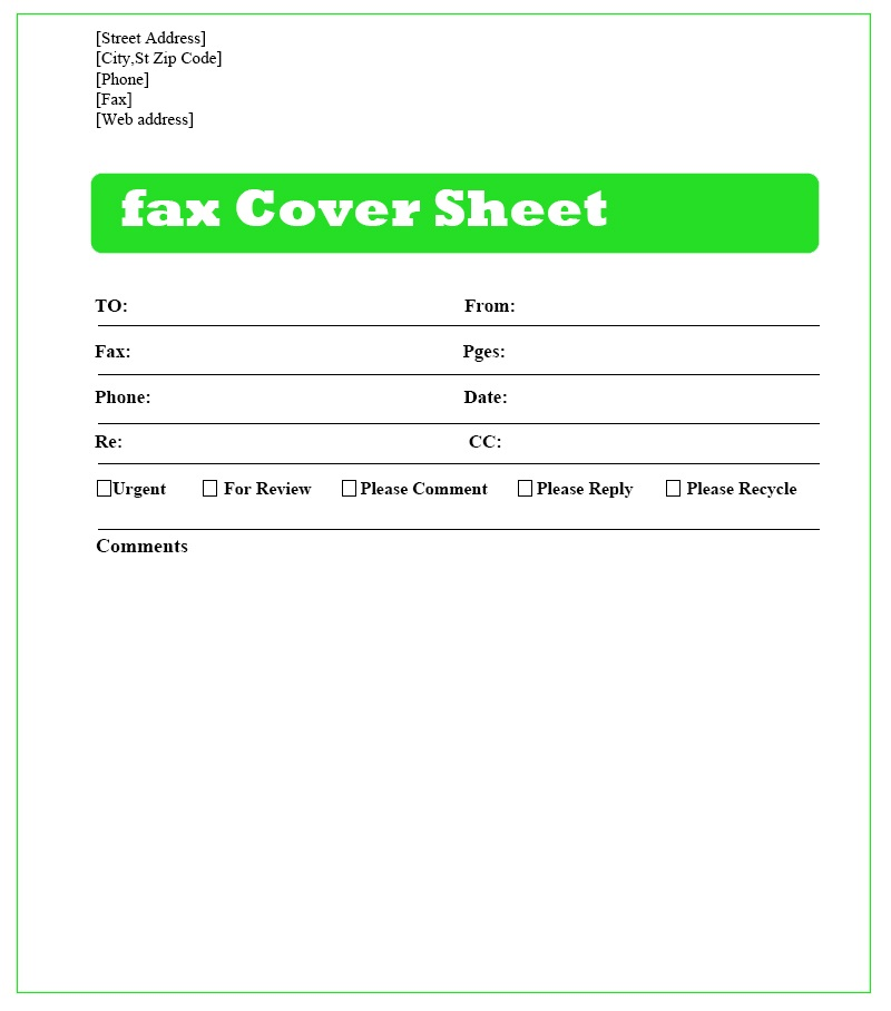 professional Fax Cover Sheet Download