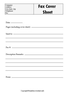 Generic Fax Cover Sheet free