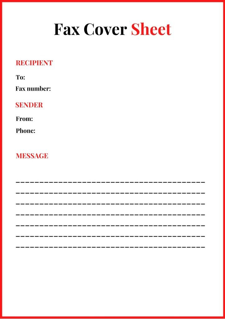 Sample Standard Fax Cover Page Printable