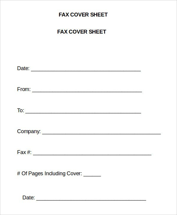 generic fax cover page