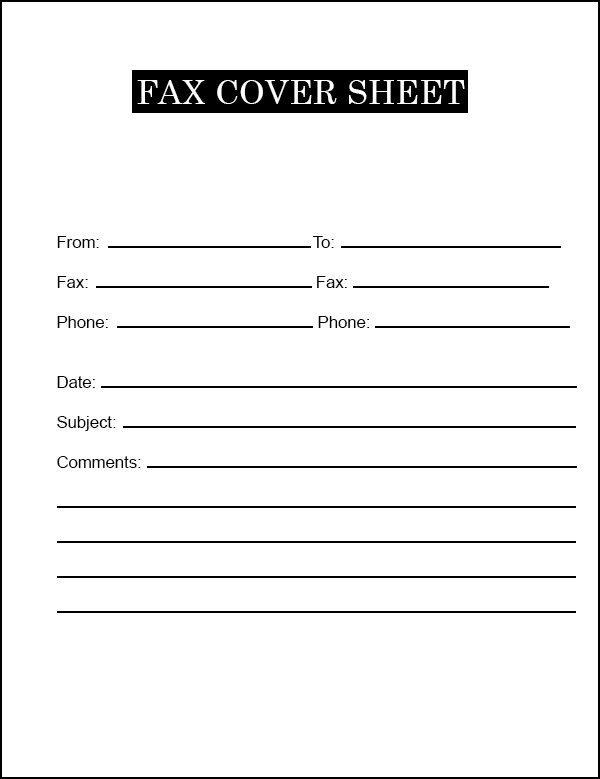 Simple Fax Cover Sheet Template