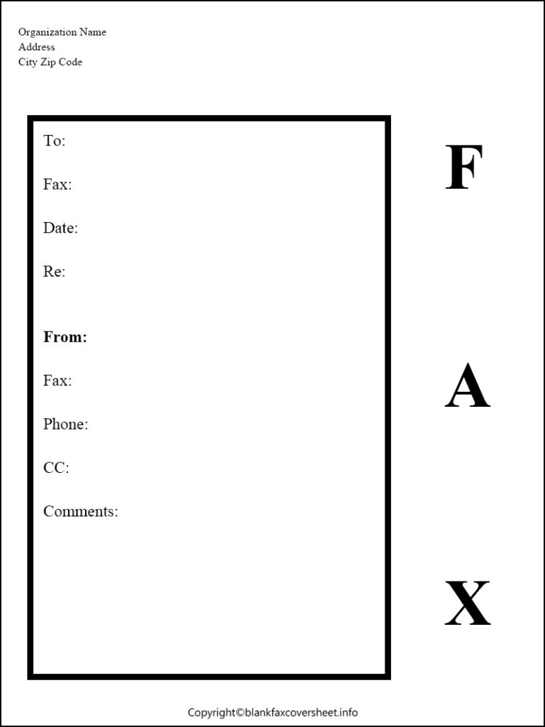 Printable Government Fax Cover Sheet